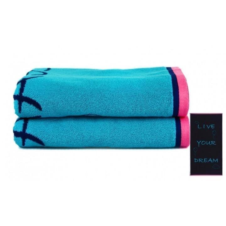 Полотенце Dream голубое пляжное велюр/махра