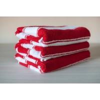 Полотенце махровое АВ красно-белое в полоску 2