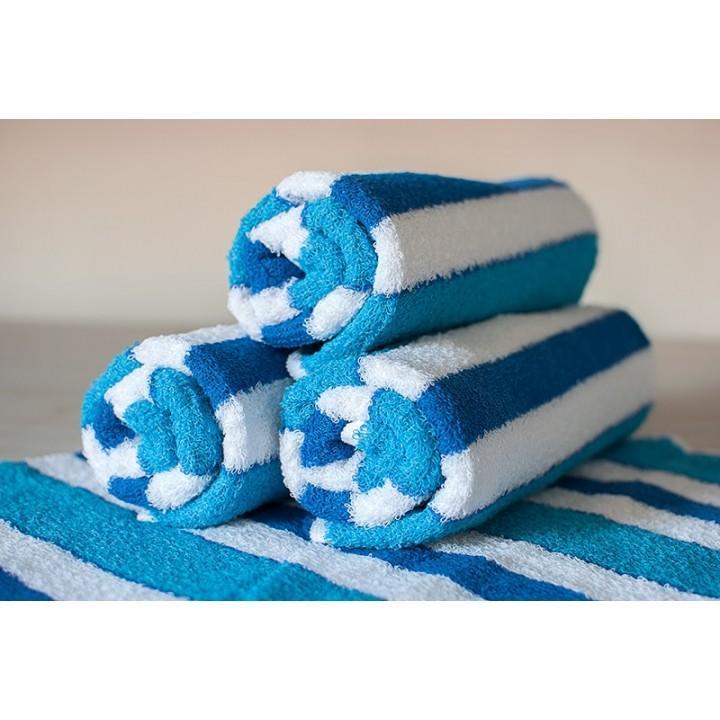 Полотенце махровое АВ сине-белое в полоску 5