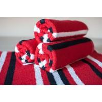 Полотенце махровое АВ красно-черное в полоску 9