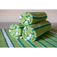 Полотенце махровое АВ светло-зеленое в полоску 11