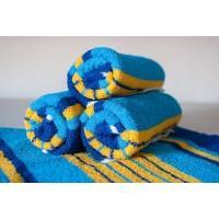 Полотенце махровое АВ сине-желтое в полоску 13