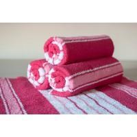 Полотенце махровое АВ розово-белое 14