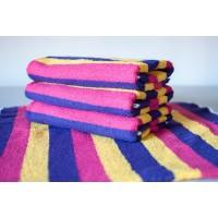 Полотенце махровое АВ розово-желтое полосатое 19