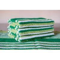 Полотенце махровое АВ зеленое полосатое 22