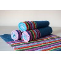 Полотенце махровое АВ синее в цветную полоску 23