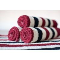 Полотенце махровое АВ бордово-белое полосатое 24