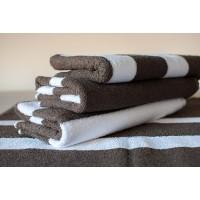 Полотенце махровое АВ коричнево-белое полосатое 26