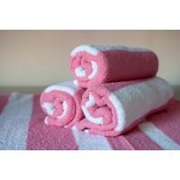 Полотенце махровое АВ бело-розовое 27