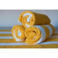 Полотенце махровое АВ желто-белое 28