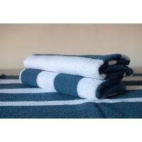 Полотенце махровое АВ бело-синее полосатое 29