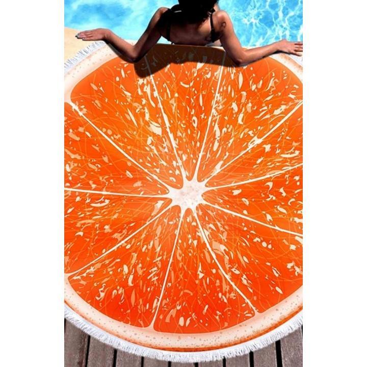 Покрывало пляжное Грейпфрут круглое махра