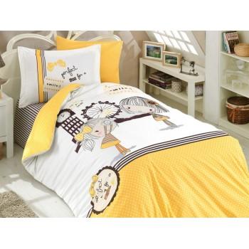 Подростковое постельное белье HOBBY поплин Smile желтое