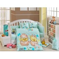 Детское постельное белье в кроватку HOBBY поплин Lovely мятное