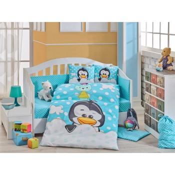Детское постельное белье в кроватку HOBBY поплин Penguin голубое