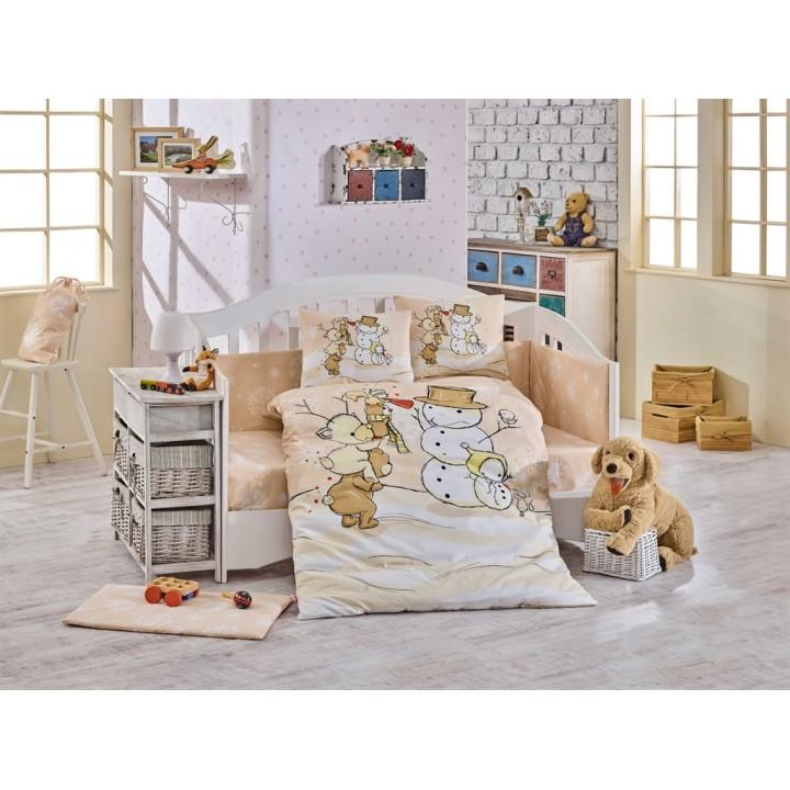 Детское постельное белье в кроватку HOBBY поплин Snowball бежевое