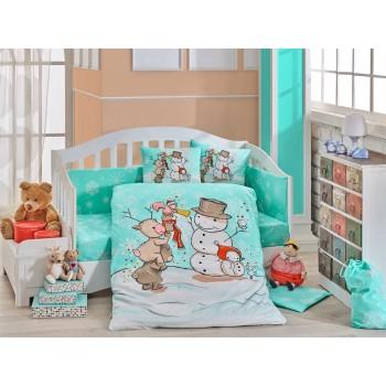 Детское постельное белье в кроватку HOBBY поплин Snowball мятное