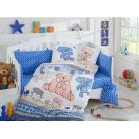 Детское постельное белье в кроватку HOBBY поплин Tombik голубое