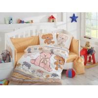Детское постельное белье в кроватку HOBBY поплин Tombik желтое