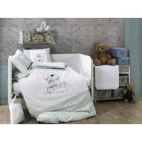 Детское постельное белье в кроватку HOBBY поплин Bonita мятное