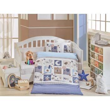Детское постельное белье в кроватку HOBBY поплин Sweet Home голубое