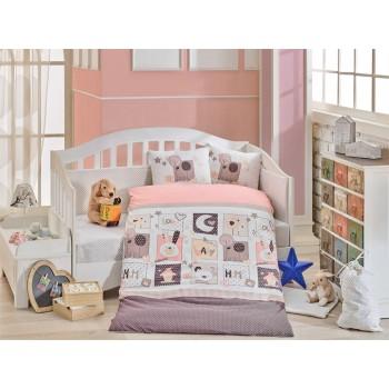 Детское постельное белье в кроватку HOBBY поплин Sweet Home розовое