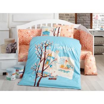Детское постельное белье в кроватку HOBBY поплин Dream Clock голубое