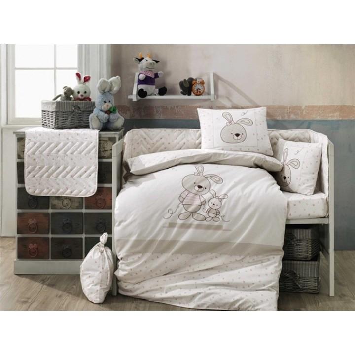 Детское постельное белье в кроватку HOBBY поплин Elina бежевое