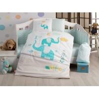Детское постельное белье в кроватку HOBBY поплин Pretty бирюзовое