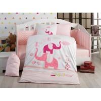 Детское постельное белье в кроватку HOBBY поплин Pretty розовое