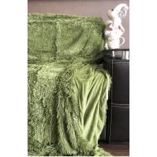 Плед покрывало меховое Травка зеленый