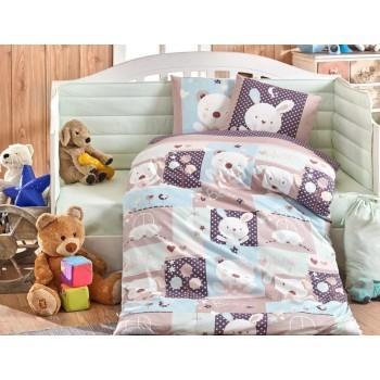 Детское постельное белье в кроватку HOBBY поплин Snoopy мятное