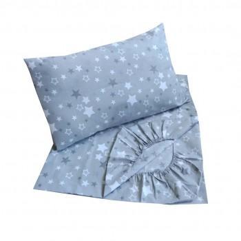 Детское постельное белье в кроватку BabyStar бязь Звезды серое