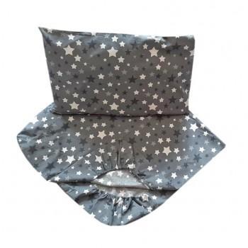 Детское постельное белье в кроватку BabyStar бязь Звезды графит