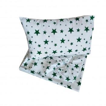 Детское постельное белье в кроватку BabyStar бязь Звезды зеленое