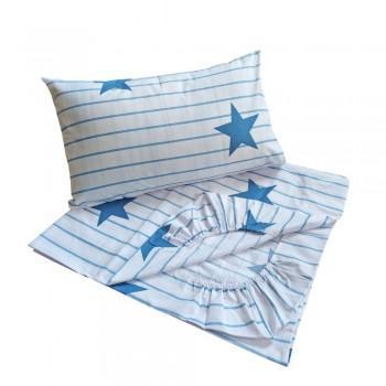 Детское постельное белье в кроватку BabyStar бязь Звезды синие