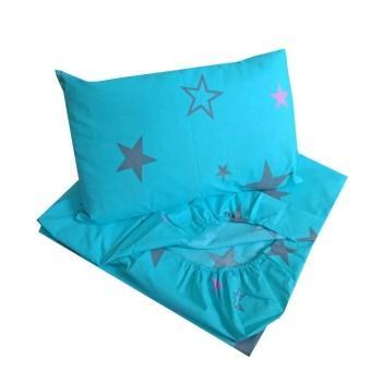 Детское постельное белье в кроватку BabyStar бязь Звезды голубое