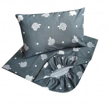 Детское постельное белье в кроватку BabyStar бязь Яблоко серое