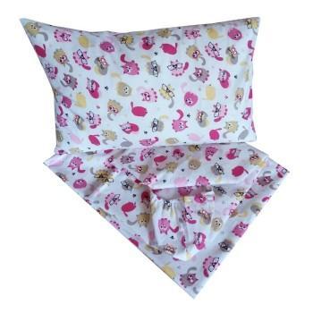 Детское постельное белье в кроватку BabyStar бязь Мяу розовое