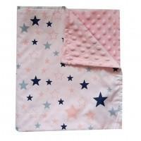 Плед BabyStar детский Звезды розовый хлопок и плюш