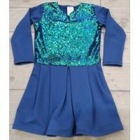 Платье для девочки синие с пайетками