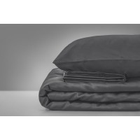 Наволочка MirSon 0240 Iron grey сатин темно-серый