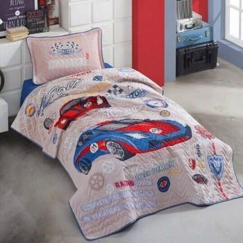 Покрывало подростковое Aran CLASY стеганное хлопковое с наволочкой 180x240 см Garage