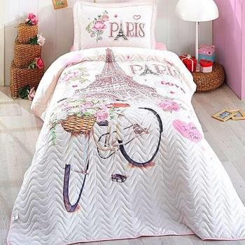 Покрывало подростковое Aran CLASY стеганное хлопковое с наволочкой 180x240 см Paris Love